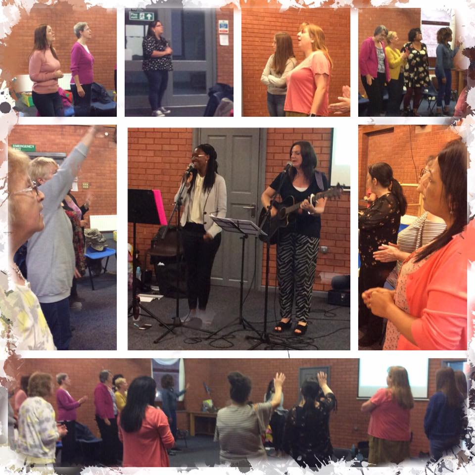 Women Together enjoying an evening of worship, scripture and testimony led by Ima and Jo.