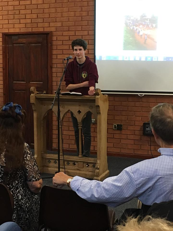 Newbold Baptist Church Mark relating his missions experience 17th June 2018